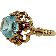 A Vintage Natural Blue Zircon in 10kt Rose Gold Ring - Tianna