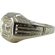 An Art Deco Old Cut Diamond Men's Wedding 18kt White Gold Detailed Ring - Thomas