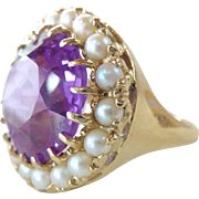 A Vintage Color Change Sapphire with a Halo of Cultured Pearls in 10kt Yellow Gold ...