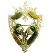 Antique Scottish Sterling Silver & Agate Thistle Luckenbooth style Brooch Pin Victorian