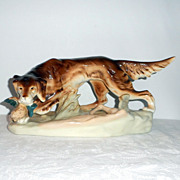 SALE Royal Dux Porcelain Figure of a Setter with Game Bird