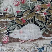 Pair of Victorian Pettipoint Pictures Featuring a Mouse and Birds with Fruit