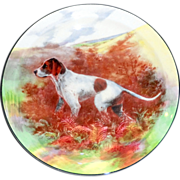 Royal Doulton Cabinet Plate Depicting a Pointer in a Fall Landscape