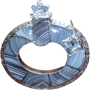 SALE Victorian 19th Century Scottish Silver and Agate Brooch