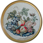 SOLD Victorian Plushwork and Woolwork Embroidery with Fruit and Roses