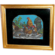 SOLD Victorian Beadwork of Rooster, Hens and Chicks