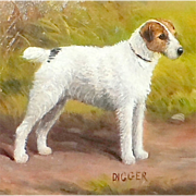 "SALE Portrait of the Wire Fox Terrier Dog, ""Digger,"" by Henry Crowther"