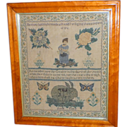 SALE Early 19th Century Motif Sampler with Rabbit