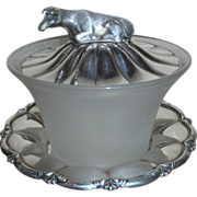 SALE Victorian Silver Plate and Glass Butter Dish with Cow Filial