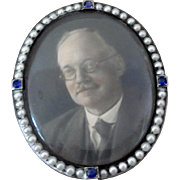 SALE Late 19th/Early 20th Century White Metal Miniature Oval Picture Frame with Pearls and ...
