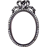 SOLD Late 19th Century Miniature Picture Frame with Paste Diamonds and Bow - Red Tag Sale Item