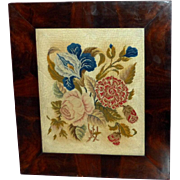 SOLD Late Regency Silk and Wool Embroidery of a Bouquet of Flowers
