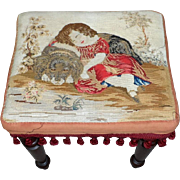 SOLD Victorian 19th Century Footstool with Woolwork of Child and Dog
