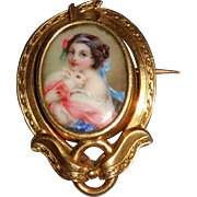 19th Century French Enamel Miniature Portrait with White Rabbit