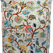 SALE 19th Century Crewelwork Curtain Panel