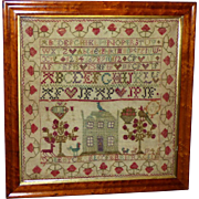 SALE 19th Century Early Victorian Sampler Worked in Colored Linen Threads