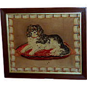 SALE 19th Century Victorian Woolwork Portrayal of Dash, the Queen's King Charles Spaniel