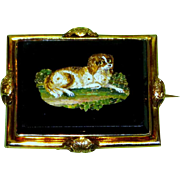 19th Century Victorian Brooch Featuring a Micro-Mosaic King Charles Spaniel in a Landscape