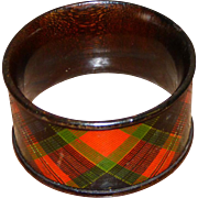 SALE Scottish Mauchlin Tartan Ware Napkin Ring, McPherson Clan