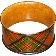 SALE Scottish Mauchlin Tartan Ware Napkin Ring, Prince Charlie Clan