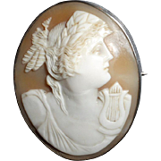 19th Century Victorian Carved Cameo Brooch of the Goddess, Pysche