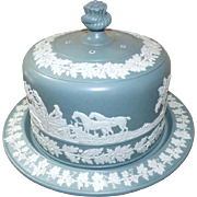 SALE Large Victorian Jasperware Stilton Cheese Dome with Hunting Scenes in Relief