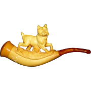 SALE Antique Victorian Meerschaum and Amber Pipe with Carved Terrier Dog
