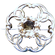 Vintage Scottish Silver and Citrine Round Brooch