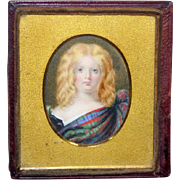 Victorian Mid-19th Century Portrait Miniature of a Scottish Child