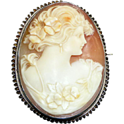 Late 19th Century Large Carved Shell Cameo Brooch