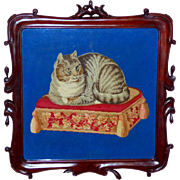 Early Victorian 19th Century Woolwork Cat on a Tasseled Cushion, in Its Original Hand-Carved .