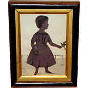 Mid-19th Century Victorian Hand-Cut Silhouette of a Child with a Bird