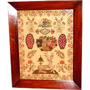 SALE Early Victorian 19th Century Sampler with a Large Spotted Deer and Basket of Flowers