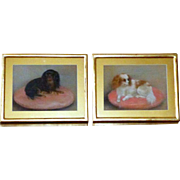 SALE Mid-19th Century Victorian Pair of Pastel Paintings of Cavalier King Charles Spaniels