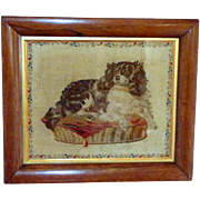 19th Century Needlework Portrait of Dash, Queen Victoria's Pet King Charles Spaniel