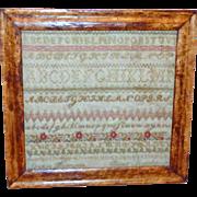 19th Century Victorian Silkwork Alphabet Sampler