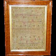 SALE 18th Century Silkwork Sampler, Dated 1785