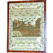 SALE Early 19th Century Silkwork Sampler with a Farmyard Scene