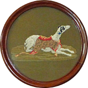 Victorian Mid-19th Century Woolwork Greyhound