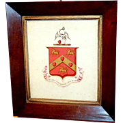 Early Victorian Watercolor of an 18th Century Coat of Arms