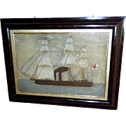 Victorian Sailor's Woolie of an Early Steamship