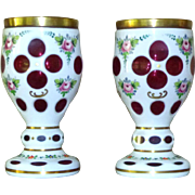 Pair of 19th Century Bohemian Crystal Glass Vases