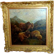 Early 20th Century Scottish Painting of Highland Sheep