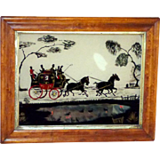 SALE Mid-Victorian 19th Century Silhouette of Coaching Scene Painted on Glass