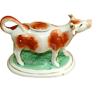 19th Century Victorian Staffordshire Spotted Brown and White Cow Creamer