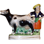 Mid-19th Century Victorian Staffordshire Milkmaid with Cow
