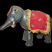 SALE Schoenhut Painted Eye Elephant, with Original drape and Howdah fringe scarf, 6 7/8 ...