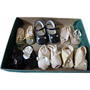 SOLD 6 Pair of vintage doll shoes, oil cloth, crochet, canvas patent leather.