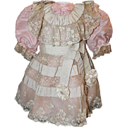 "SALE Pretty Pink Silk Doll Dress for your 23-24"" tall Antique Doll, antique fabrics ..."