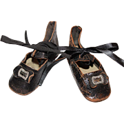 SOLD Matched pair of black leather shoes with original metal buckles for your old doll, dolls.